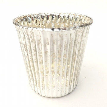Silver Ribbed Tea Light Holders